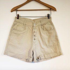 Vintage 90s High Rise Sand Button Fly Denim Shorts